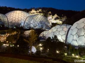 Domes of The Eden Project, Cornwall, England in the evening.