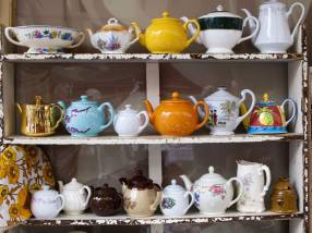 Teapot display at The Shambles Market in Stroud