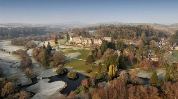 Aerial view of Bovey Castle