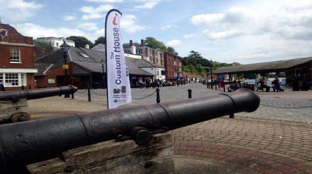 Cannons outside Exeter's Custom House Visitor Centre