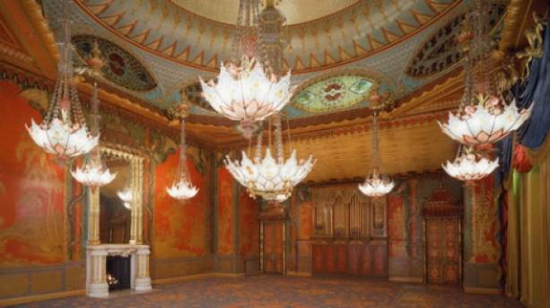 The ornate Music Room at the Royal Pavilion in Brighton.