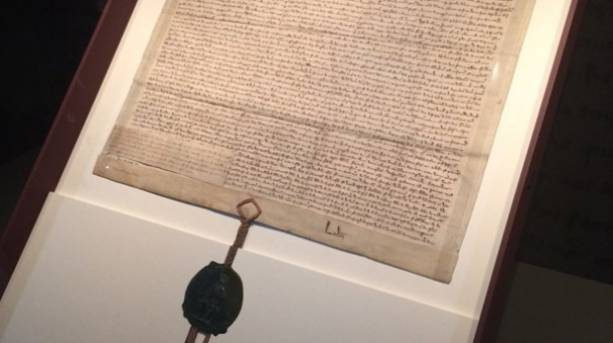 The 1297 copy of Magna Carta at the Heritage Gallery in London, England