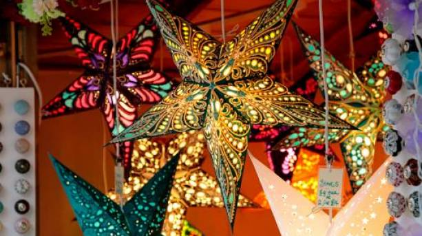 Christmas decorations at Salisbury Christmas Market