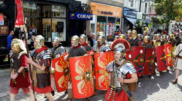 Roman soldiers marching at St Leger Festival Week