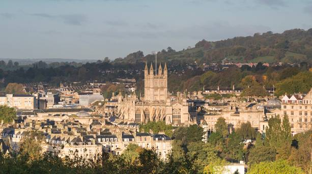 A view of Bath Abbey from the Bath Skyline