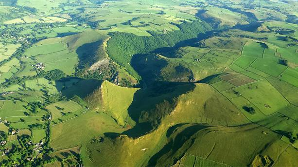 View from a balloon over Dovedale