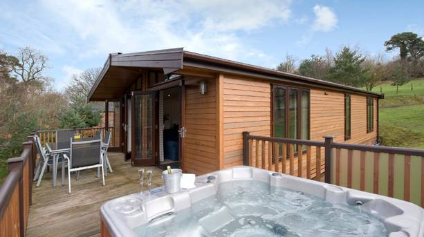 Upgrade to a spa lodge with its own hot tub