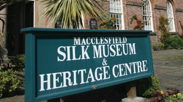 Macclesfield Silk Museum sign, Cheshire