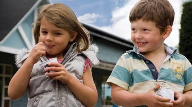 Children eating ice cream at the Ice Cream Farm in Cheshire