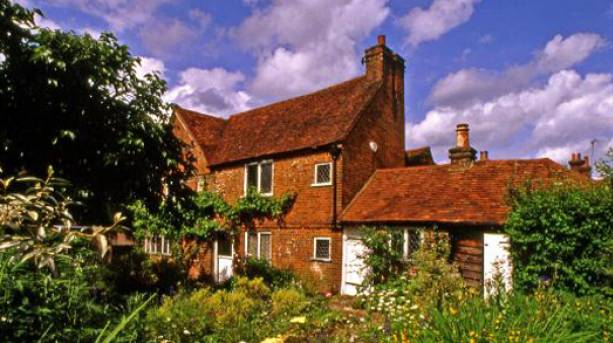 View of Milton's Cottage across the gardens, Buckinghamshire