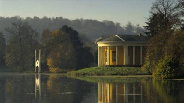 View across the lake at West Wycombe Park, Buckinghamshire