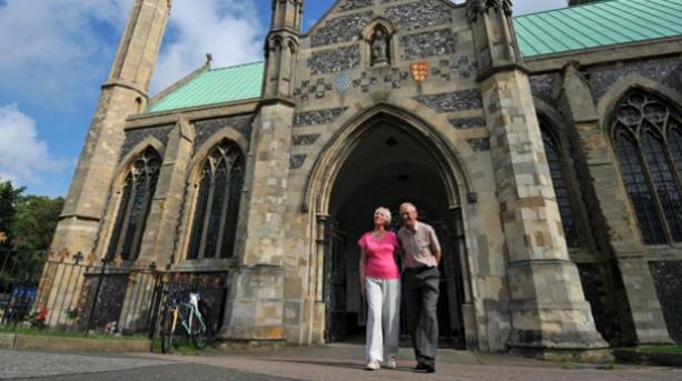A couple visiting Great Yarmouth Minster