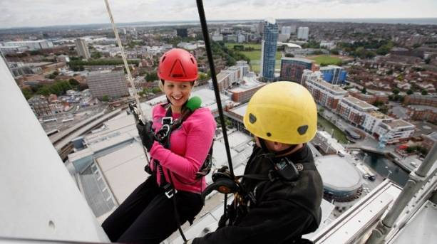 Abseiling down Emirates Spinnaker Tower