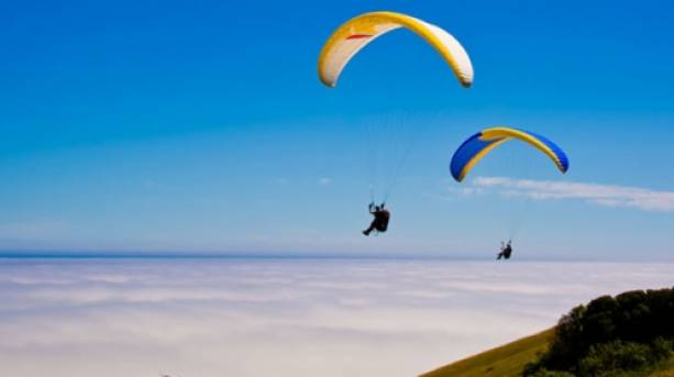 Paragliders on the coast in Eastbourne