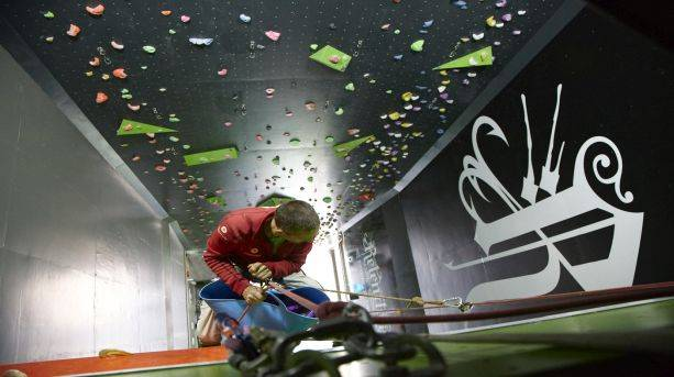 Heading for the top at Rokt Climbing Gym