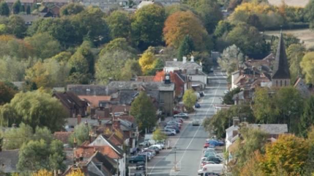 An aerial view of Stockbridge high street