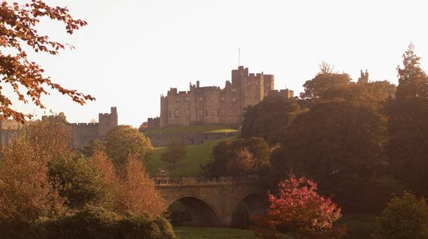 View of Alnwick Castle, Northumberland.