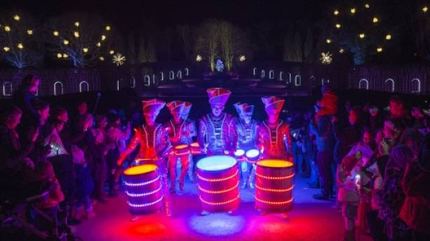 Drummers at Alnwick Garden Christmas Market