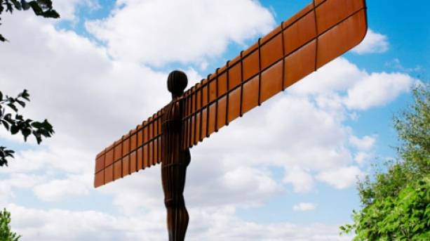 Angel of the North in Gateshead. Designed by Antony Gormley, the 20m-tall steel sculpture is one of the North's most iconic images.