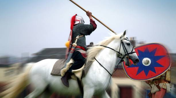 Jousting at a Roman themed event, South Shields, South Tyneside