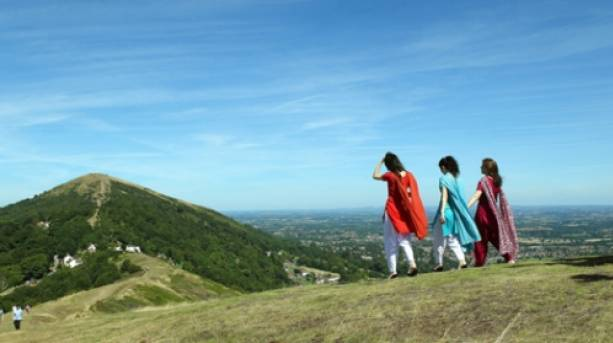 Walkers enjoying the walk along the top of the Malvern Hills