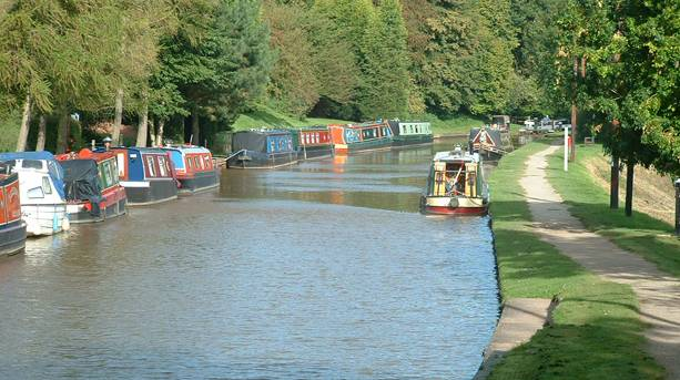 The canal boats in Audlem