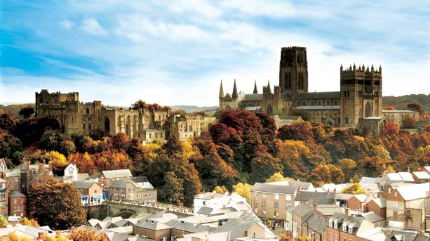 Durham City skyline in autumn