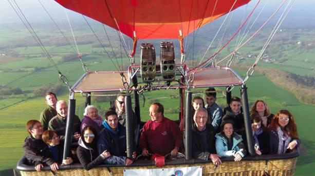 Visitors Enjoying a Hot Air Balloon over Bath