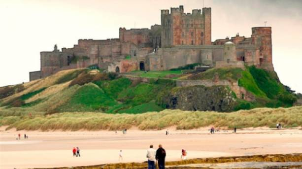 Bamburgh Beach with the magnificent Bamburgh Castle in the background