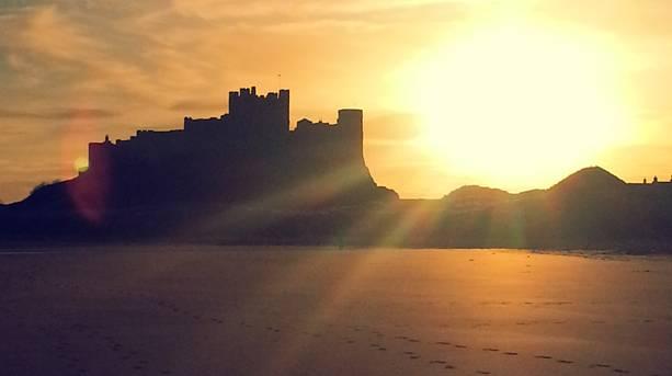 Bamburgh Caslte at sunrise