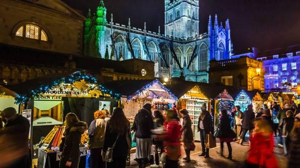 Bath Christmas Market at night