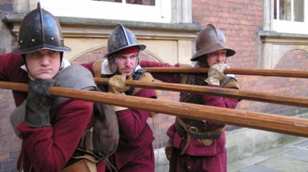 Battle of Worcester re-enactors outside Worcester Guildhall