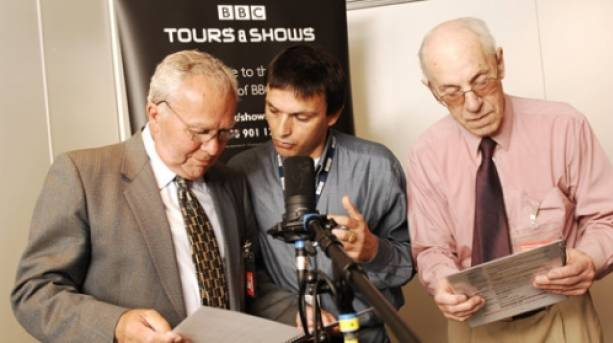 Visitors have a go at reading the news on a BBC tour