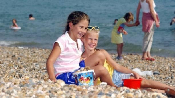 Girls enjoying Southsea Beach