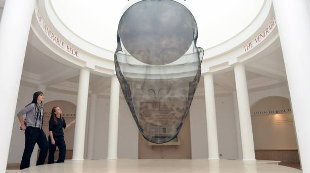 Large steel-mesh portraiture of the Venerable Bede, Jarrow, South Tyneside