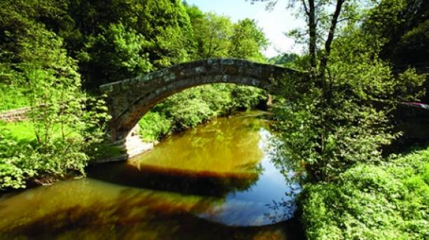 Beggar's Bridge, beautiful high-arched packhorse bridge across the River Esk at Glaisdale