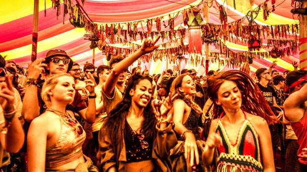 Inside the Bollywood tent at Bestival