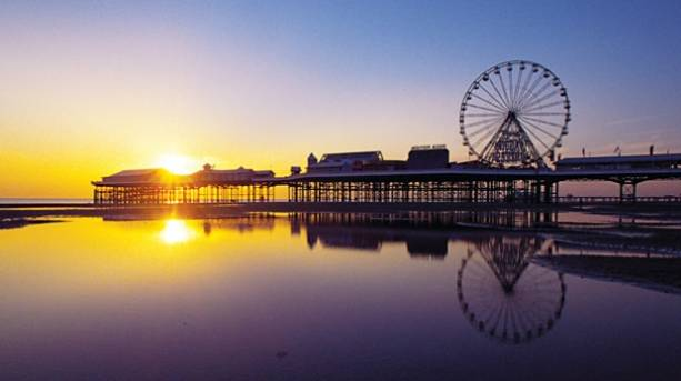 Central Pier in Blackpool at sunset
