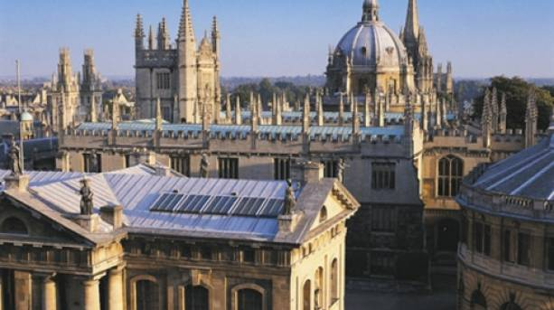 Aerial view of the old Bodleian Library buildings