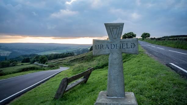 The road into High Bradfield, where Tour de France came through