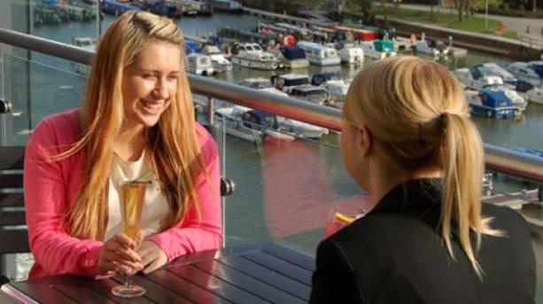 Drinks overlooking the marina