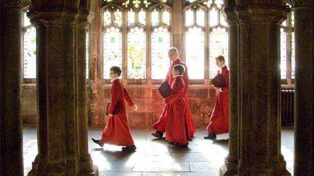Choir boys inside Bristol Cathedral