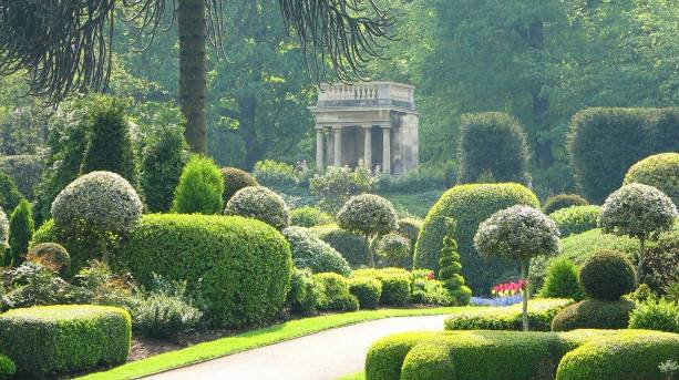 View across the gardens at Brodsworth Hall towards the Summerhouse