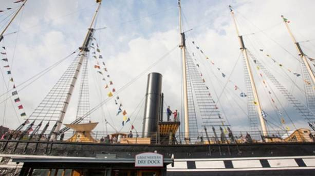 Multi-coloured flags on Brunel's ss Great Britain