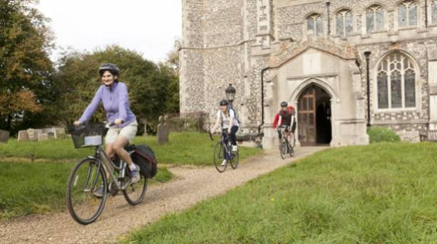 Cycling away from St Edmundsbury Cathedral
