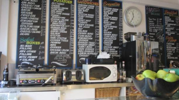 Menu board at Flavours in Hockley, nottingham