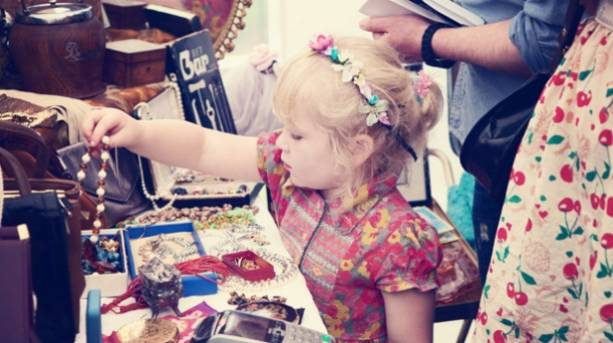 A little girl at a vintage fair in York