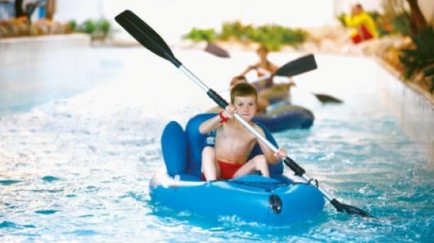A boy kayaking at Butlins