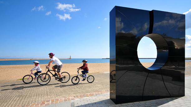 C2C black granite monolith at Roker seafront