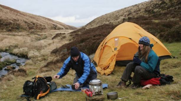 Two people camping on Dartmoor